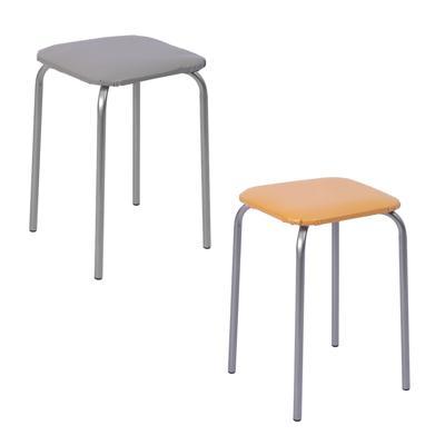 Табурет квадратный, мягкое сиденье, металл, h47см, 29x29см, НИКА