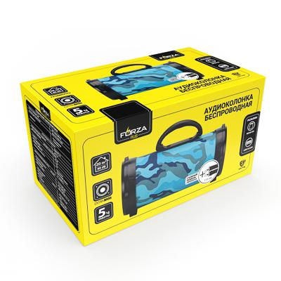 Колонка беспроводная FORZA, цвет хаки, 25см, 1200 мач, Micro-SD, USB, AUX, FM