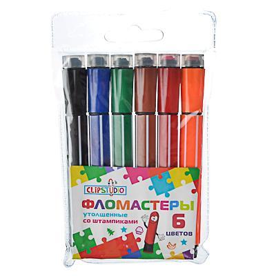 Фломастеры ClipStudio утолщенные со штампиками, 6 цветов