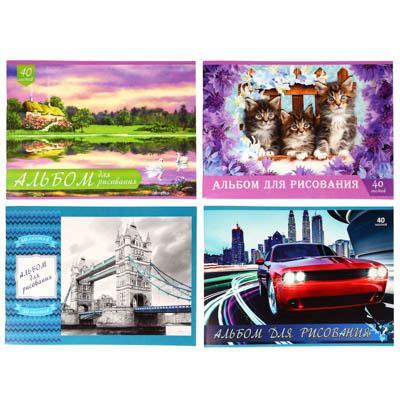 Альбом для рисования А4 ClipStudio 40 л., офсет 100 г/м2, обл.картон 240 г/м2, скрепка, 4 дизайнов