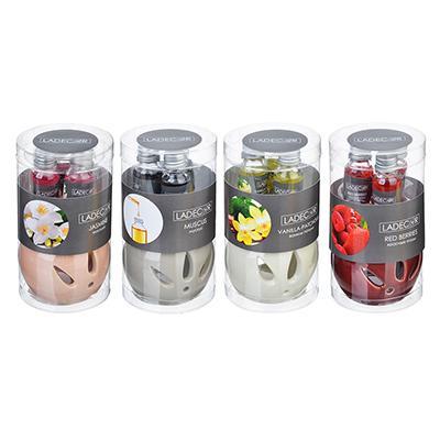LADECOR Ароманабор лампа и масло, 3штx10мл, с ароматами красных ягод, ванили-пачули,жасмина, мускуса