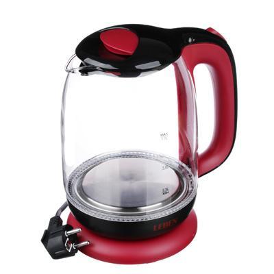Чайник электрический 1,7 л LEBEN, 1850 Вт, стекло/пластик, красный 291-062