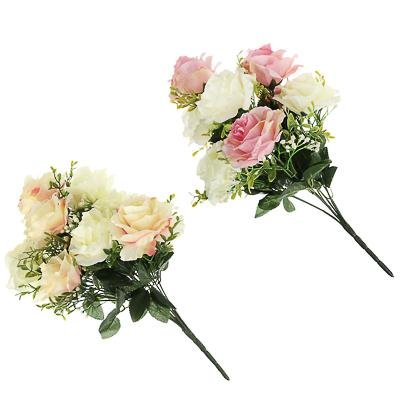 LADECOR Цветок искусственный в виде роз, букет, 43см, пластик, полиэстер, 2 цвета