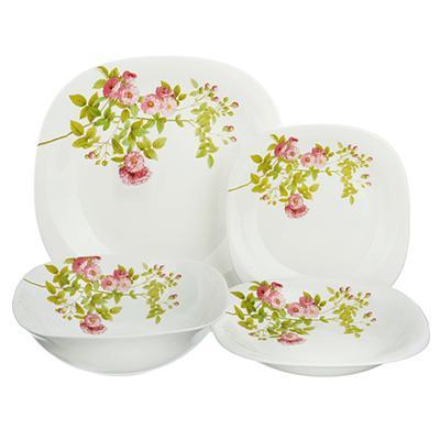 Набор столовой посуды 13 предметов, опаловое стекло, квадратная форма, MILLIMI
