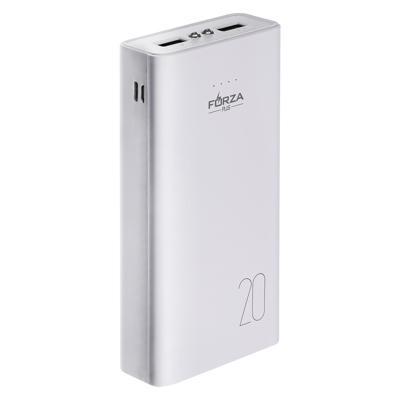 Аккумулятор мобильный FORZA, 16000 мАч, 2 USB, 2А, пластик, LED фонарик , 2 цвета