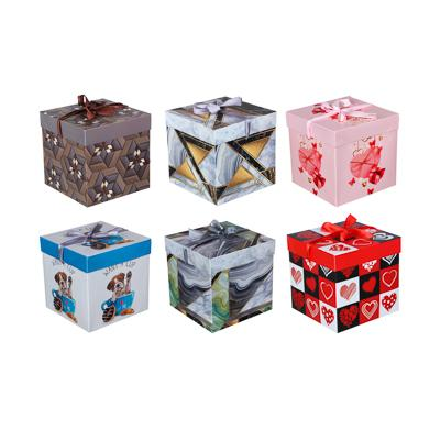 Коробка подарочная, складная, бумага, 15х15х15 см, 4 дизайна