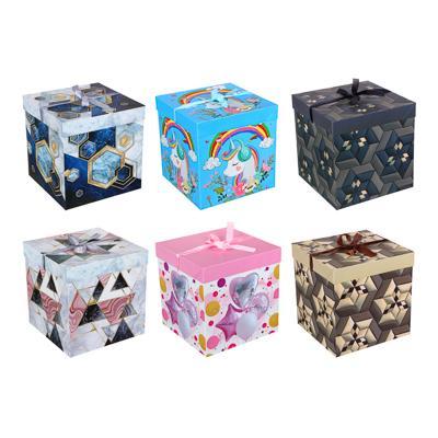 Коробка подарочная, складная, бумага, 25х25х25 см, 3 дизайна