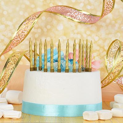 Набор свечей с подставками 12 шт, парафин, Капитан Весельчак, 2 цвета