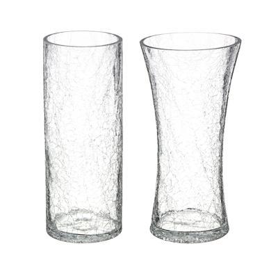 Ваза стеклянная с эффектом битого стекла, 25х10/13 см