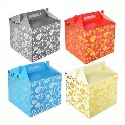 Коробка подарочная складная с ручками, с фольгированным слоем, 28х28х26см, бумага, 4 цвета