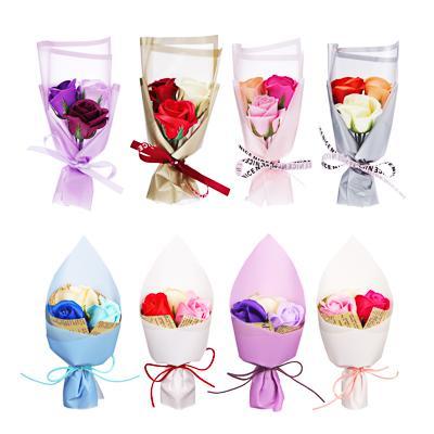 Ароманабор из мыльных лепестков в виде букета из роз, 25,5х8х8 см, 8 цветов, 2 дизайна
