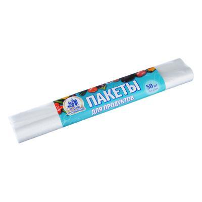 Пакеты полиэтиленовые для продуктов 50 шт, 24х37 см, 6 мкм, в рулоне