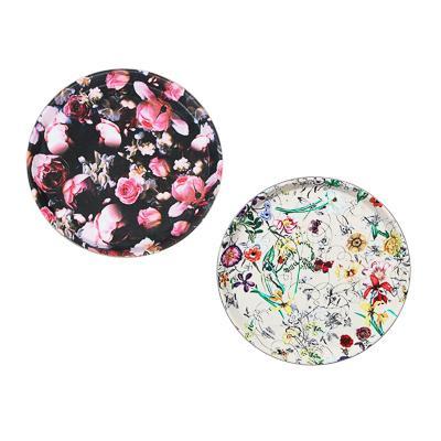Поднос круглый с антискользящим покрытием, ПВХ, пластик 27.5см, 2 дизайна