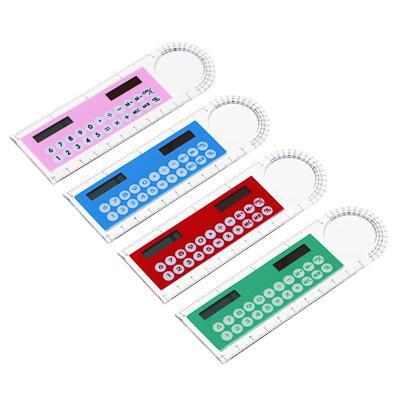 Калькулятор-линейка 8-разрядный с лупой и транспортиром, 4 цвета