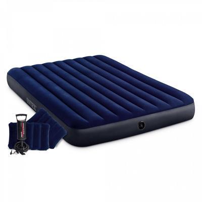 Кровать надувная, ручной насос, 2 подушки, FIBER-TECH, 152х203х25 см, INTEX