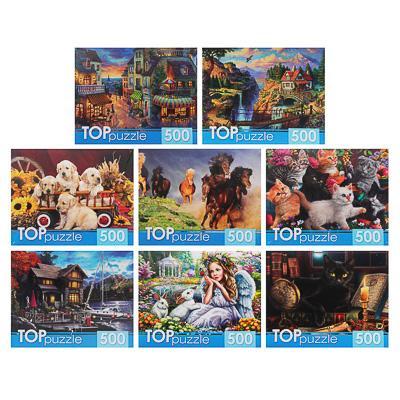 РЫЖИЙ КОТ Пазлы TOPpuzzle, 500 деталей, картон, 19х15х6,5см, 10 дизайнов
