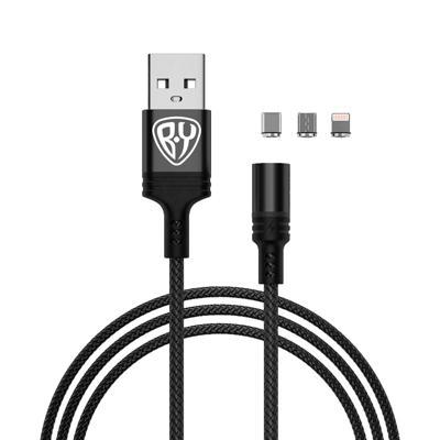 FORZA Кабель для зарядки Магнитный 3 в 1, iP/Micro USB/Type-C, 1м, 2.1А, прорезиненный, 3 цвета