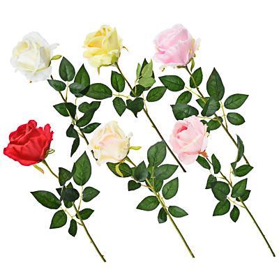 LADECOR Цветок искусственный в виде ветки с розами, пластик, полиэстер, 64 см, 6 цветов