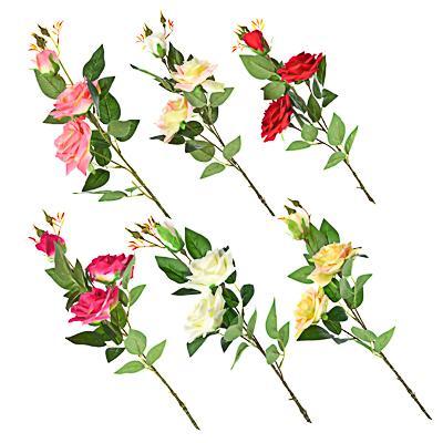 LADECOR Цветок искусственный в виде ветки с розами, пластик, полиэстер, 94 см, 6 цветов