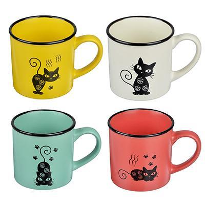 Черная кошка Кружка, 310мл, керамика, 4 цвета