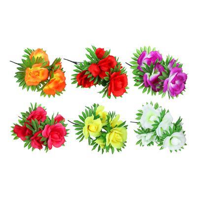 Цветок искусственный букет роз, 37-42 см, пластик, 6 цветов