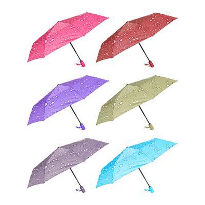 Зонт женский, полуавтомат, сплав, пластик, полиэстер, 55см, 8 спиц, 4 цвета