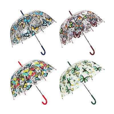 Зонт-трость женский, сплав, пластик, ПВХ, 60см, 8 спиц, 4 дизайна