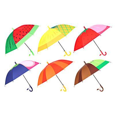Зонт-трость детский, сплав, пластик, ПВХ, длина 47см, 8 спиц, 6 дизайнов,10598-7