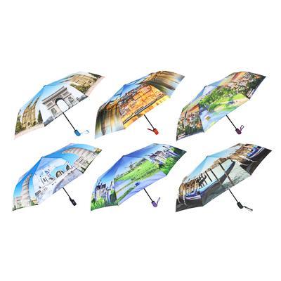 Зонт женский, полуавтомат, сплав, пластик, полиэстер, 55см, 8 спиц, 6 дизайнов