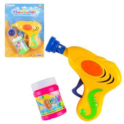 ИГРОЛЕНД Пистолет для запуска мыл.пуз.механич., мыльный р-р 40мл, ABS, 17х20, 5х5см, 3 цвета