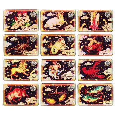 Магнит виниловый со стерео эффектом и декором, 8х5 см, 12 дизайнов с изображением знаков Зодиака