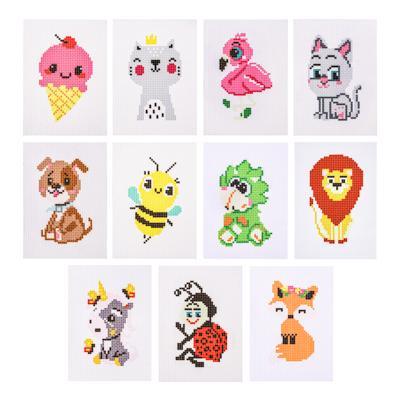 Набор для вышивания 14х10см (канва, нитки мулине, пластиковая игла), 6-12 дизайнов