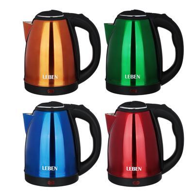 Чайник электрический 1,8 л LEBEN, 1500 Вт, нержавеющая сталь, 4 цвета 291-071