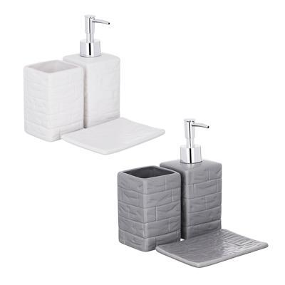 Набор для ванной, 3 предмета, керамика, 2 цвета, VETTA