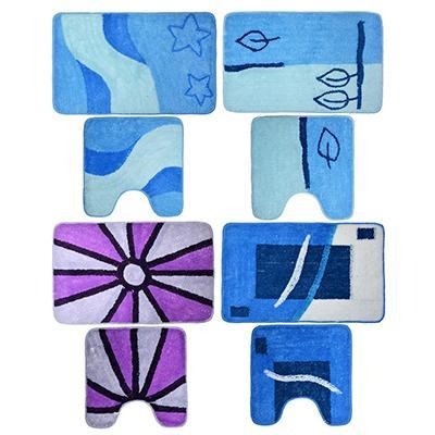 VETTA Набор ковриков 2шт для ванной и туалета, акрил, 50x80см + 50x50см, синий 4 дизайна