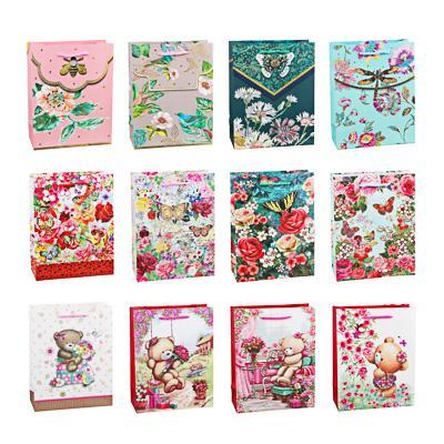 Пакет подарочный, высококачеств.бумага, глиттер, тиснение фольгой, 18х23х8 см, 10 дизайнов, арт 3-9