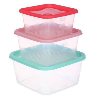 Набор контейнеров для продуктов квадратных 3шт, (0,63л+1,1л+1,7л), пластик