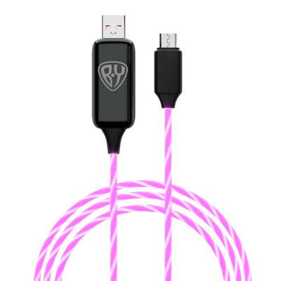 Кабель для зарядки FORZA, BY Micro USB, 1м, 2.4А, с LED подсветкой, Быстрая зарядка QC3.0