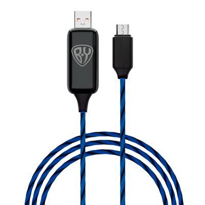 FORZA BY Кабель для зарядки Светящийся Micro USB, 1м, 2.4А, Быстрая зарядка, LED подсветка