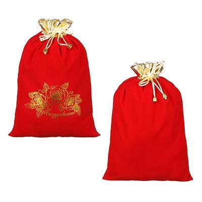 Мешок подарочный, ткань, полиэстер, 24х35 см, красный с золотом