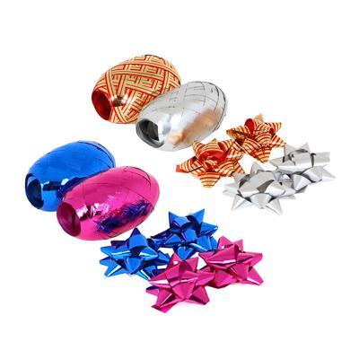 Набор для упаковки подарка, 2 ленты и 4 бантика, 6 цветов
