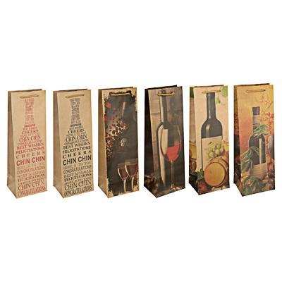 Пакет подарочный бумажный, крафт, 12х35х9 см, 6 дизайнов