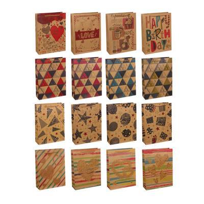 Пакет подарочный бумажный, крафт, 23,5х31,5х8,5 см, 16 дизайнов