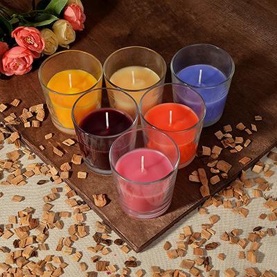 LADECOR Свеча ароматическая в стеклянном стакане, 8х7,5 см, 6 ароматов
