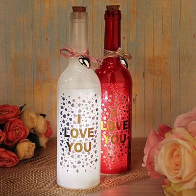Светильник LED в форме бутылки с сердцами, стекло, 3хААА, без батареек, 7,3х29 см, 2 цвета