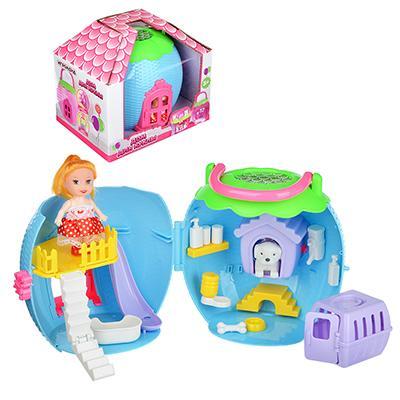 ИГРОЛЕНД Дом-яблоко для куклы с мебелью и фигуркой, ABS,PP, 20х13,5х18см, 3 дизайна