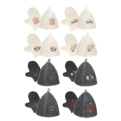 Набор банный 2 пр. (шапка, варежка) с вышивкой, 30% шерсть, 70% полиэфир, 2 цвета