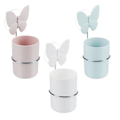 VETTA Романтика Стакан для зубных щеток на присоске, пластик, 7х10см, 3 цвета