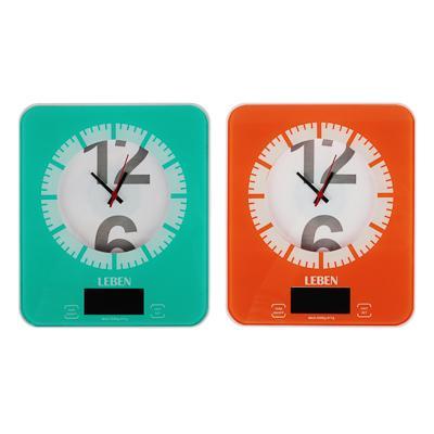 LEBEN Весы кухонные электронные с часами, макс.нагр.до 5кг (точн.измер. 1 гр), пластик, 2 цвета 268-053