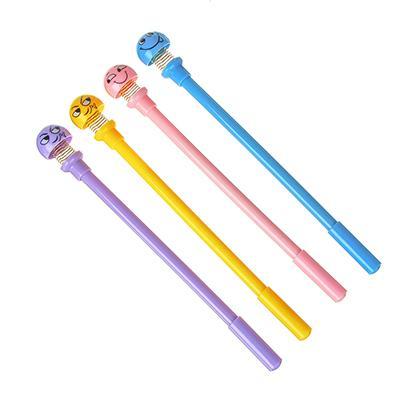 Ручка шариковая-антистресс синяя, верх в форме смайлика на пружине, 19,5см, пластик